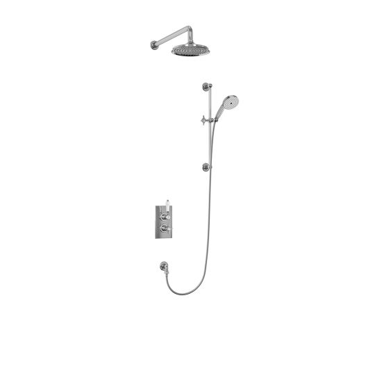 Arcade Chrome Concealed Thermostatic Dual Outlet Shower Valve with Fixed Head and Wall Arm + Slide Rail Kit
