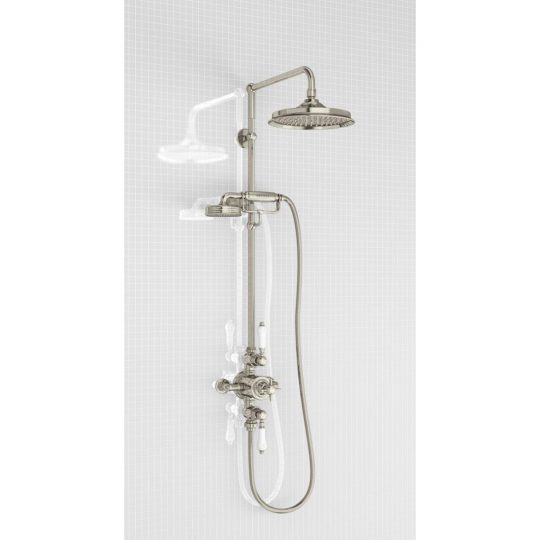 Arcade Chrome Concealed Thermostatic Single Outlet Shower Valve with Fixed Head and Wall Arm