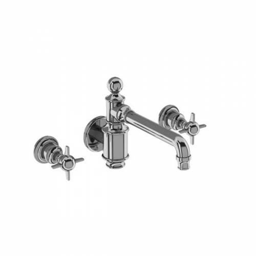 Arcade Chrome Three Hole Basin Mixer Wall-Mounted without Pop Up Waste