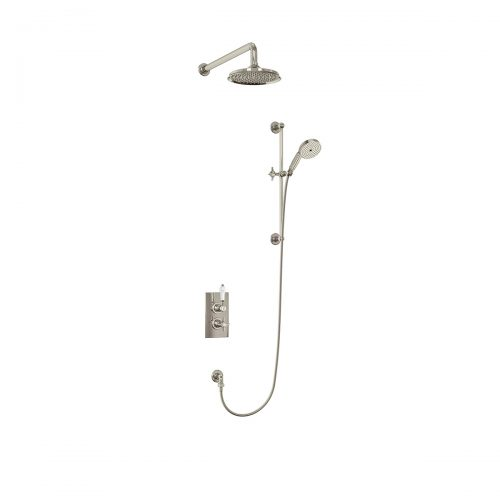 Arcade Nickel Concealed Thermostatic Dual Outlet Shower Valve with Fixed Head and Wall Arm + Slide Rail Kit