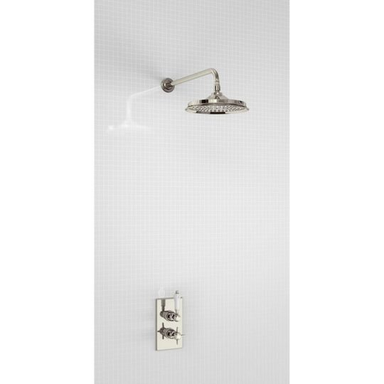 Arcade Nickel Concealed Thermostatic Single Outlet Shower Valve with Fixed Head and Wall Arm