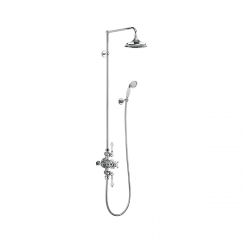 Burlington Avon Exposed Thermostatic Dual Function Shower Valve with Vertical Riser, Fixed Head and Handset