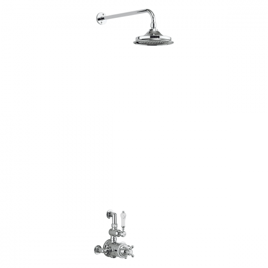 Burlington Avon Exposed Thermostatic Single Function Shower Valve with Fixed Head and Wall Arm