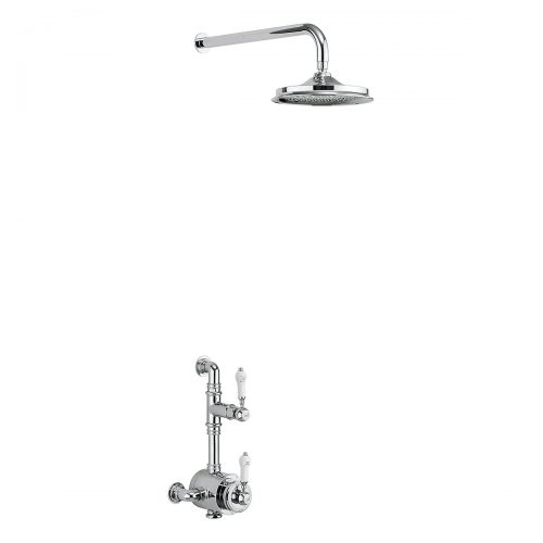 Burlington Stour Exposed Thermostatic Single Function Shower Valve with Fixed Head and Wall Arm