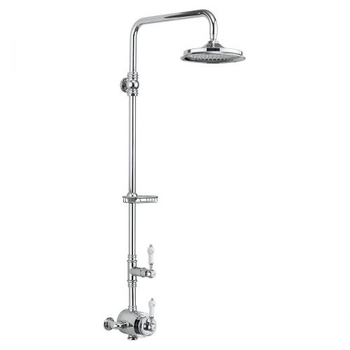 Burlington Stour Exposed Thermostatic Single Function Shower Valve with Vertical Riser and Fixed Head