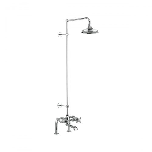 Burlington Tay Thermostatic Two Outlet Bath Shower Mixer with Vertical Riser and Fixed Head
