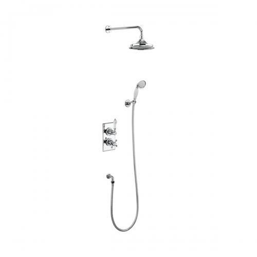 Burlington Trent Concealed Thermostatic Dual Function Diverter Shower Valve with Fixed Head and Wall Arm + Slide Rail Kit