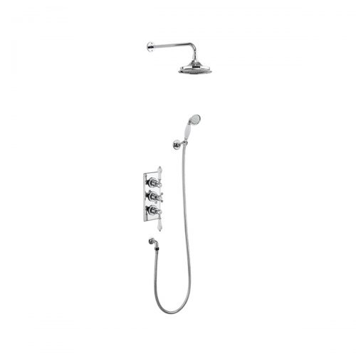Burlington Trent Concealed Thermostatic Dual Function Independent Control Shower Valve with Fixed Head and Wall Arm + Slide Rail Kit